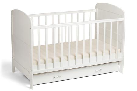 Furniture. Childhood. White wooden baby crib isolated on white background Standard-Bild