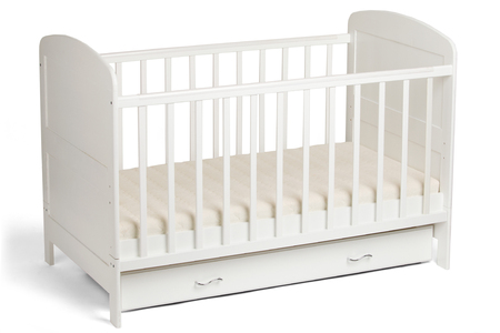 Furniture. Childhood. White wooden baby crib isolated on white background Archivio Fotografico