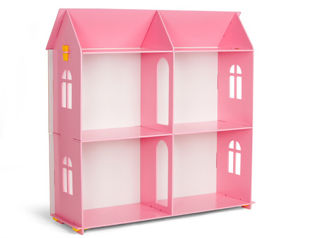 dollhouse: Toys. Furniture. Pink wooden dollhouse isolated on white background