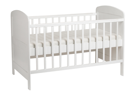 Furniture. White crib for kids isolated on white background