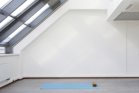 A place for sports training. Mat and supporting unit for yoga and fitness lying on the floor. The room is flooded with daylight sunlight from the window, the glare on the wall. Archivio Fotografico