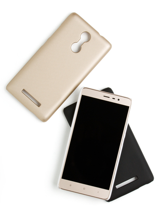 Mobile accessories. Smartphone with the number of covers isolated on white backbround