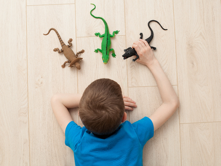 CLose up boy playing with dinosaur toys on the floor