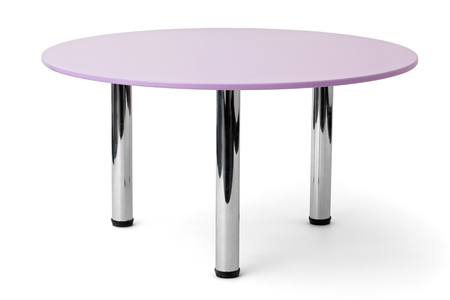 metal base: Furniture. A round violet table with metal legs  isolated on white background Stock Photo