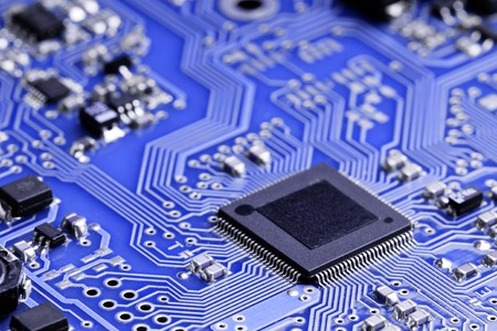 micro chip: A micro chip on an electronic board