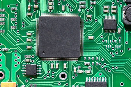 micro chip: Close up a  micro chip on an electronic board Stock Photo