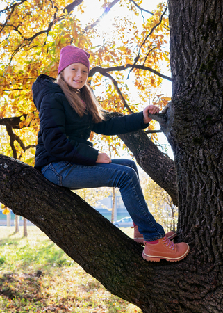 Happy child sitting on branch of tree on sunny autumn day