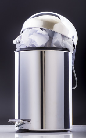 waster: Stainless steel office pedal bin full of papers