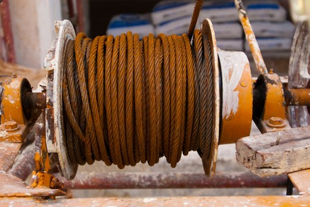 the pulley with rusty wire in renovation of a temple