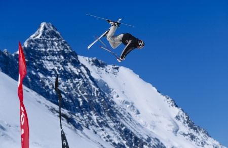 TIGNES, FRANCE - JULY 12: Skier Anders Bjorndahl taking big air in the snowpark in Tignes on July 12, 2001. The snowpark on the Tignes Glacier is popular for wintersports in the summer months.