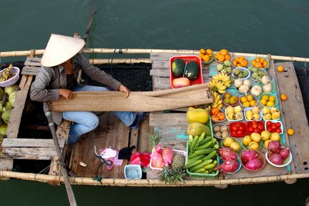 traditional goods: floating market in vietnam Stock Photo