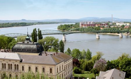 visegrad: view of danube, from visegrad fortress, hungary