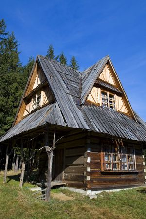 tatry: old wooden house in mountain Stock Photo