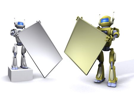 Robot with empty billboard Stock Photo - 7347686