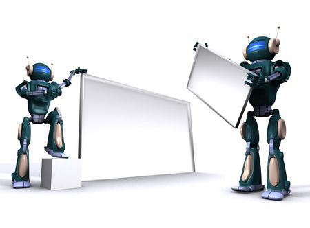 Robot with empty billboard Stock Photo - 7347684