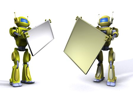 Robot with empty billboard Stock Photo - 7347689