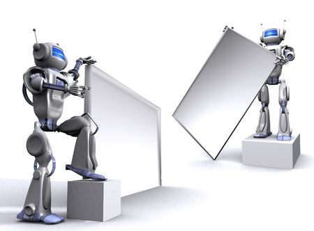 Robot with empty billboard photo