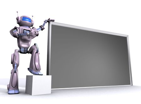 Robot with empty billboard photo