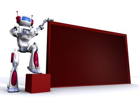 Robot with empty billboard Stock Photo - 7347714