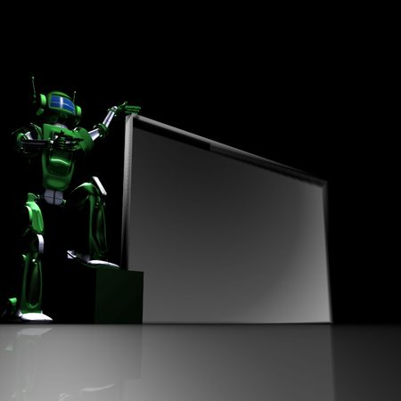 Robot with empty billboard Stock Photo - 7366994
