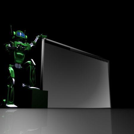 Robot with empty billboard Stock Photo - 7366994