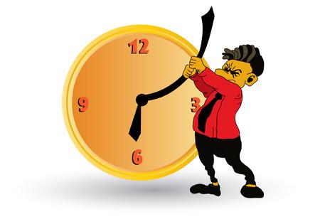 business stress: Hombre de negocios con reloj  Vectores