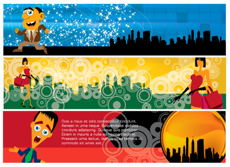 3 banners with cartoon people Vector