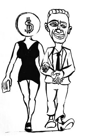 businesslike: Caricature of businessman and woman