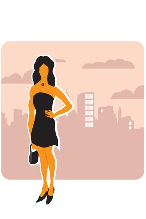 illustration of city woman illustration