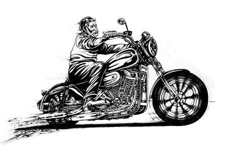 Man riding a motorcycle Stock Photo