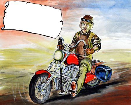Man riding a motorcycle photo