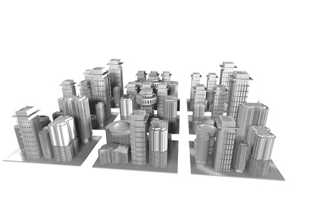 town square: 3d render of a city model