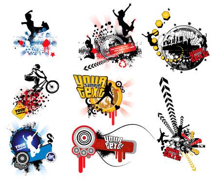 Ilustración de banner funky abstracto