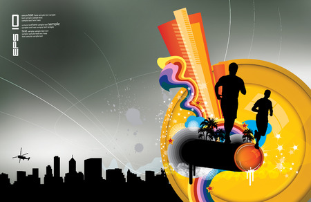 Modern poster with running people and abstract background  Stock Vector - 8821124