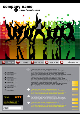 website backgrounds: Website layout with dancing people