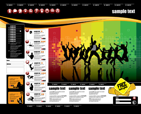 web portal: Web site design template, vector.