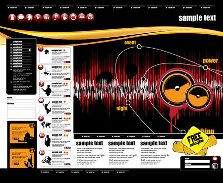 disk jockey: Web site design template, vector.