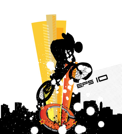 silhouette of cyclist Vector