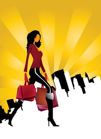 frau ganzk�rper: Junge Frau mit Einkaufstaschen  Illustration