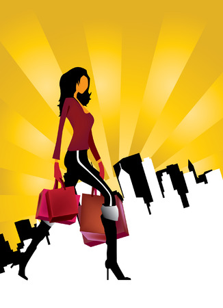 woman shopping bags: Young woman with shopping bags  Illustration
