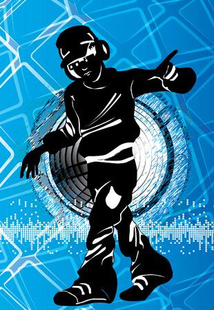music dj: A illustration of a music DJ