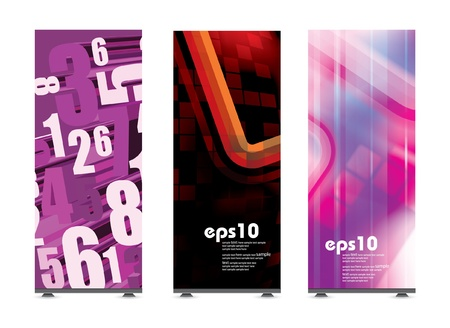 exhibition stand: Roll up display with banner template  Illustration