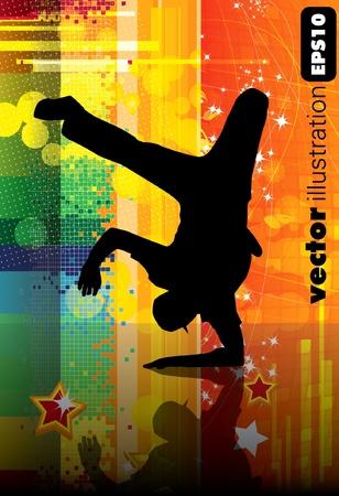 hip hop girl: Vector illustration of breakdancer.  Illustration