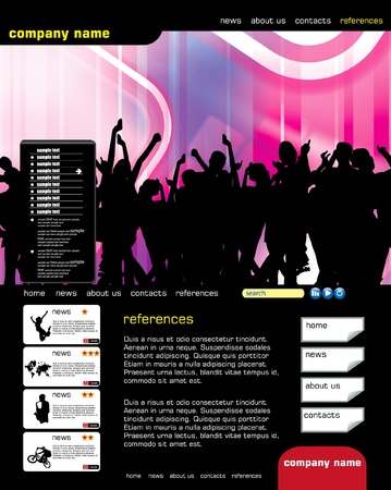 Website template with music even subject  Vector