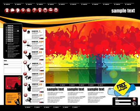 Website template with music even subject  Stock Vector - 9268383