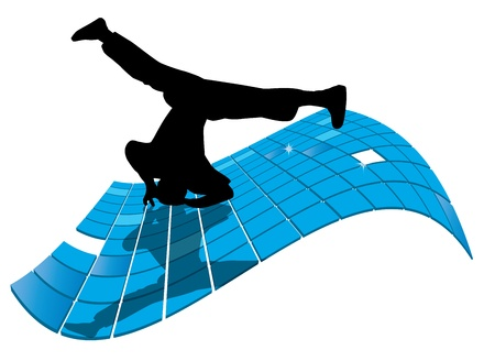 hip hop silhouette: illustration of breakdancer.  Illustration