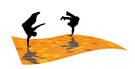 illustration of breakdancer.  Vector