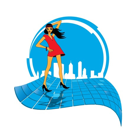 Woman with city background Vector