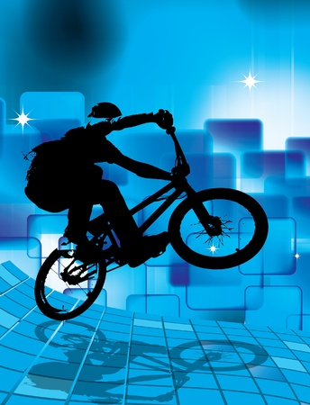 black youth:  cyclist  Illustration