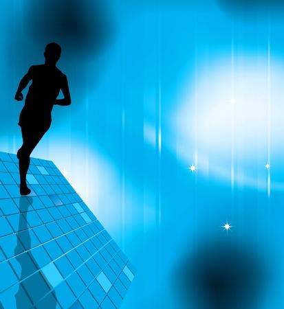hombres corriendo: Ilustración vectorial de deporte